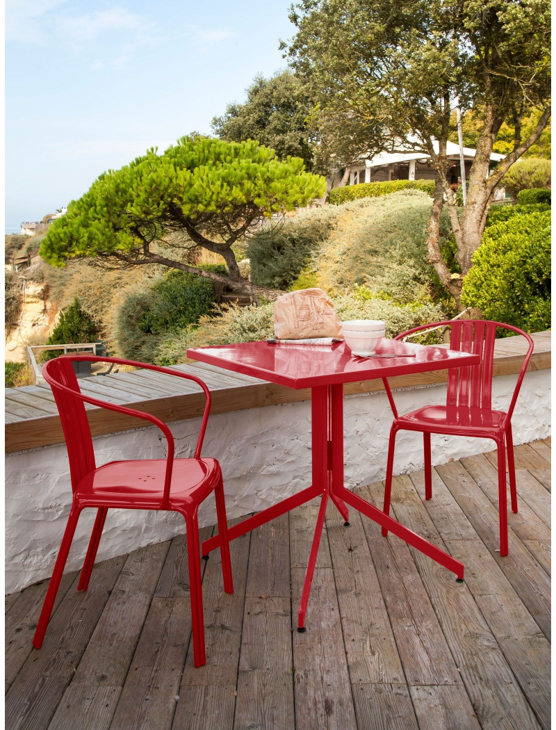 Table Urban aluminium Rouge Proloisirs - Tables de jardin en ...