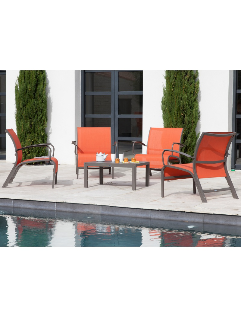 salon de jardin proloisirs linea lounge paprika mobilier outdoor design denali by jardin concept. Black Bedroom Furniture Sets. Home Design Ideas