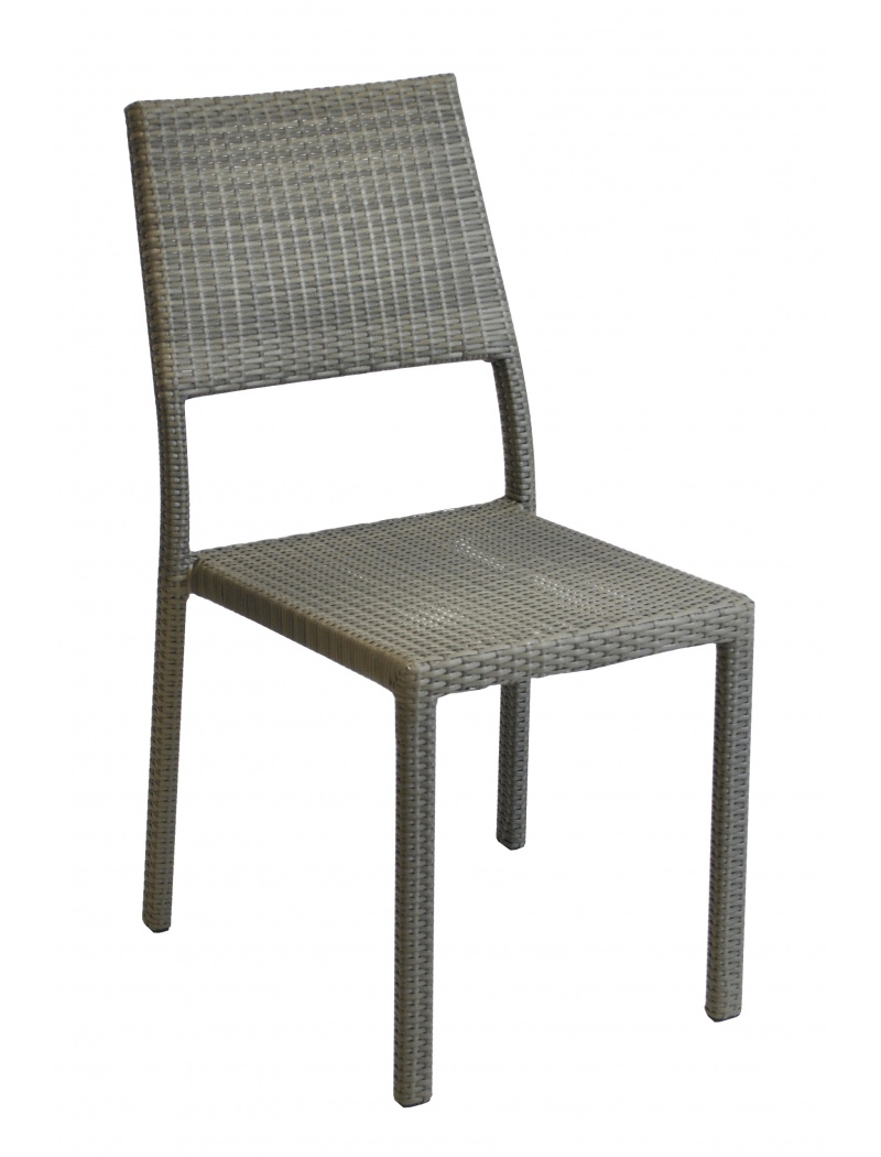 Chaise manon r sine tress e gris ice proloisirs chaises - Chaise de jardin empilable ...