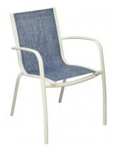 Fauteuil Linéa Blanc / Bleu jean's
