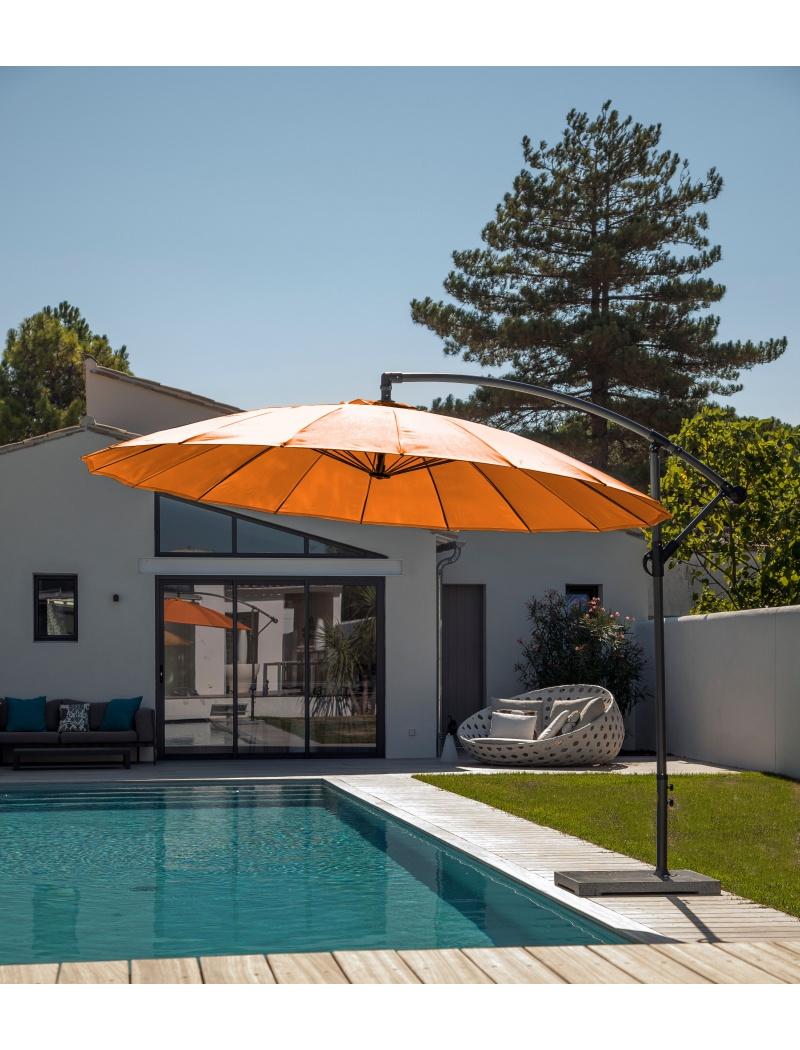 parasol alu rond d port 300 pagode mandarine proloisirs parasol store jardin concept. Black Bedroom Furniture Sets. Home Design Ideas