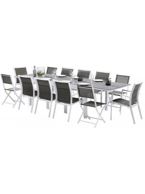 Salon Modulo 8/12 Stone Blanc 8 fauteuils + 4 chaises