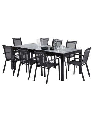 Ensemble HPL Star Noir 8 fauteuils