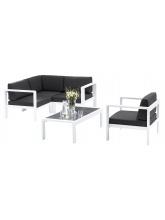 Canapé d'angle Orlando Blanc + fauteuil
