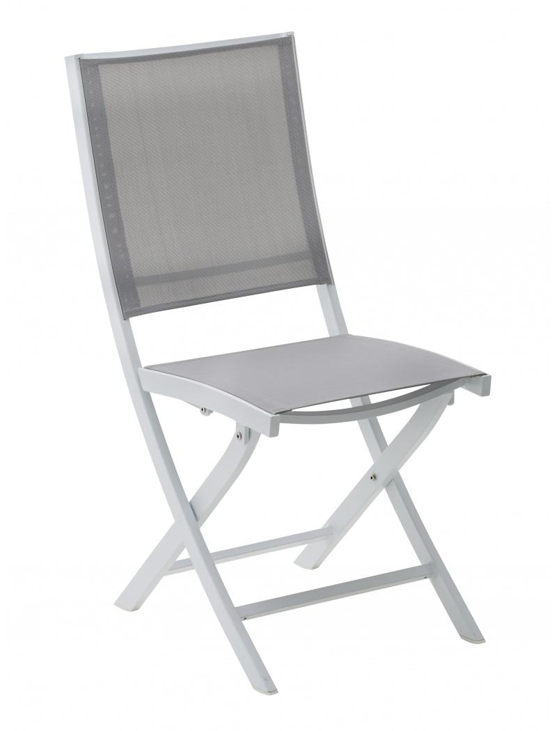 chaise pliante whitestar blanc gris wilsa chaises fauteuils alu textil ne jardin concept. Black Bedroom Furniture Sets. Home Design Ideas