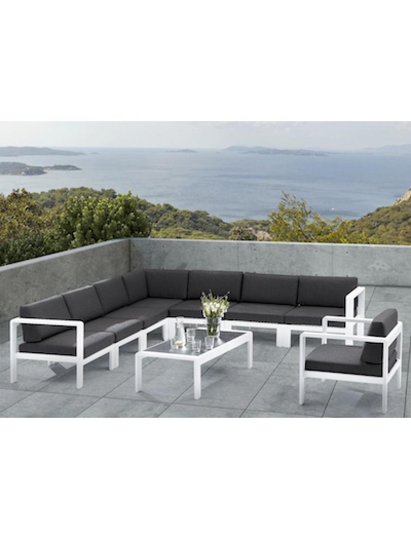 Salon d\'angle Orlando Blanc 8 places Wilsa - Salons de jardin ...